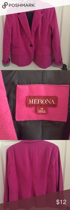 Merons blazer Pink wool blend blazer, ticking stripe detail at turned up wrist.  Get the j crew look for less! Merona Jackets & Coats Blazers