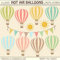 Hot Air Balloons Clipart Digital HOT AIR by DigitalStories on Etsy, €3.00
