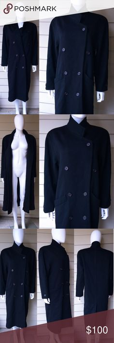 """Vintage 90s black wool minimalist trench coat Amazing vintage MADE IN USA black long wool trench coat. Tags were removed to I'm not sure who made it but it does have a high end tag stating """"Made in USA"""" . Dry clean only. Double breasted buttons with high collar. Could fit a man but the shoulders are smaller then most men's sizing. This beauty is heavy too, thick and warm with satin lining. Measurements(flat)- Chest:  20' Shoulder: 18' Sleeves: 23' Length: 45' . Please ask all questions…"""