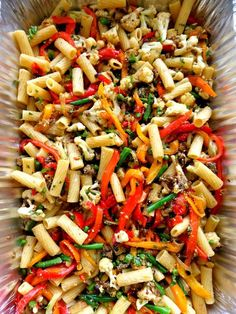 Roasted Veggie Pasta--the colors are so inviting. I could eat pasta salad every day of the year. It's such a great side dish too..