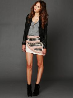 Bless'ed are the Meek Supercell Embellished Mini Skirt at Free People Clothing Boutique