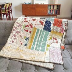 Love the soft colors, mostly cream backgrounds. This would be so fitting in this room. IS remnant quilt by S-J (www.sjmakesquilts.com)   Flickr - Photo Sharing!