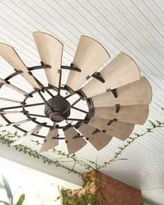 This is an awesome look - A Windmill with Bronze accents. Considered an Outdoor Ceiling Fan but it would look great inside too. Porch Ceiling, Outdoor Ceiling Fans, Outdoor Fans, Ceiling Canopy, Ceiling Lights, Diy Home Decor Rustic, Farmhouse Decor, Modern Farmhouse, Farmhouse Style