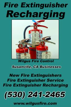 Fire Extinguisher Recharging Susanville, CA (530) 241-2465 We're Wilgus Fire Control. Call Today and Discover the Complete Source for all Your Fire Protection!