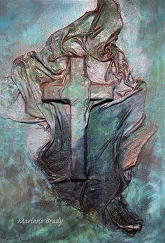 Marlene Brady.  Canvas, wooden cross, fabric, fabric stiffener/draping liquid, acrylic paint, metal paint, oxidizing solution and sealer.