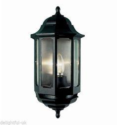 Black ASD Half Lantern - Outdoor/Outside Wall Light With Dusk to Dawn Photocell in Garden & Patio, Garden Lighting, Outdoor String Lights   eBay