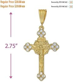 """2.75"""" INRI Cross Crucified Jesus Pendant Charm 14k Yellow Gold Over Brass Round Clear cz Holy Prayer Pendant For Necklace Christianity Gift"""