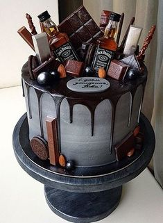 Alcohol Birthday Cake, Alcohol Cake, Birthday Cake For Him, Birthday Cakes For Men, Birthday Cupcakes, Birthday Ideas, Birthday Parties, Birthday Cake Ideas For Adults Men, Birthday Quotes
