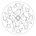 Hatching Chicks Mandala for preschool and kindergarten kids to print and color, from www.kigaportal.com