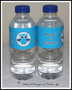 Water Bottle Labels #Owl #Boy #Blue #Naming #Day #1st #Baby #Cute #Shower #Birthday #Bunting #Party #Decorations #Ideas #Banners #Cupcakes #WallDisplay #PopTop #JuiceLabels #PartyBags #Invites #KatieJDesignAndEvents #Personalised #Creative