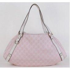 #Gucci Pink and Ivory GG Canvas Hobo Bag