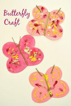 Butterfly Craft for Kids...spring art with fresh flowers #preschool #kidart #kindergarten #naturecraft