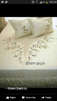 This Pin was discovered by Nhl Ribbon Embroidery, Embroidery Designs, Embroidered Pillowcases, Viking Tattoo Design, Sunflower Tattoo Design, Bed Covers, Bed Spreads, Bed Sheets, Decoration