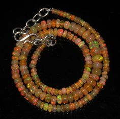 "50 Crts 1 Necklace 3to7mm 16"" Beads Natural Ethiopian Welo Fire  Opal  64893"
