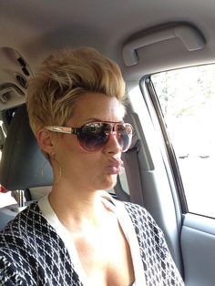 Blonde pixie faux hawk