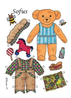 Karen`s Paper Dolls: Sofus 1-2 Big Paper Doll Bear to Print in Colours. Sofus…
