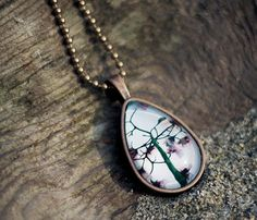 Cherry Blossoms Glass Necklace - Photo Taken in Vancouver, BC by traceytomtenephoto
