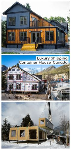 Luxury Shipping Container House – Canada - This house in Exshaw, Bow Valley, Canada is unique and interesting. Six 40 foot shipping containers - Container Buildings, Garden Buildings, Canada House, Canada Canada, Shipping Container House Plans, Shipping Containers, Casas Containers, Small House Plans, Modern Exterior