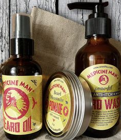 Itchy Beard Care Kit: Anti-Itch Beard Wash (4 fl oz), Beard Oil (2 fl oz) & Mustache Pomade (2 fl oz)