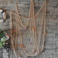 fishing themed wall decor | Nautical-Fishing-Net-Wall-Room-Drapes-Seaside-Beach-Party-Sea-Shell ...