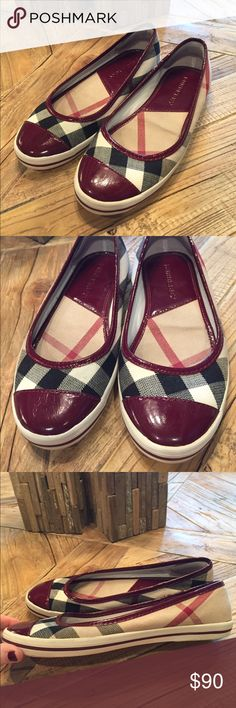 Authentic 37 Burberry signatures plaid flats Authentic size 37 Burberry slip on flats. These are in good used condition. Very sturdy shoes and comfortable. Shows some wear (mainly some wrinkling inside from wear but not noticeable when wearing them.  Outside looks great! Burberry Shoes Flats & Loafers