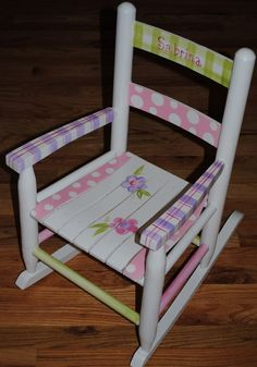 """my """"mom-in-law-ish"""" makes these awesome rocking chairs and so many more beautiful things! Kids Furniture, Painted Furniture, Doll Furniture, Painted Wooden Chairs, Painting For Kids, Art For Kids, Funky Chairs, Childrens Rocking Chairs, Hand Painted Rocks"""