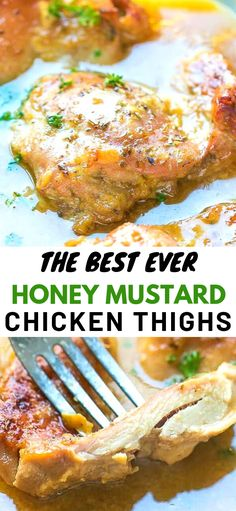 The perfect weeknight chicken dinner – Easy Juicy Oven Baked Honey Mustard Chicken Thighs Recipe. Made with boneless skinless chicken thighs and baked in the oven and a great dipping sauce. Ready in minutes. One of my favorite boneless skinless chick Mustard Chicken Thighs Recipe, Crispy Baked Chicken Thighs, Oven Baked Chicken Thighs, Baked Chicken Breast, Boneless Chicken Thighs Crockpot, Honey Mustard Chicken Baked, Chicken Thigh Marinade, Chicken Thighs Dinner, Bone In Chicken Thighs