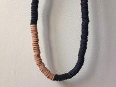 black leather sequin necklace by tsbd on Etsy