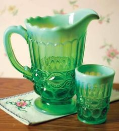 Green Depression glass #green