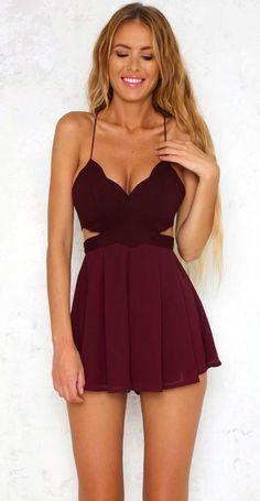 3b237379f4 summer outfits Burgundy Cut-out Dress