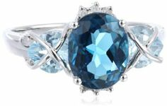 Sterling Silver, Diamond and Blue Topaz Ring, (0.03 cttw, GH Color, I2-I3 Clarity)