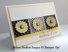 handmade card by Sharon Burkert from As The Ink Dries ... white base with yellow and black ... clean design ... three black and white papers in blocks with three die cut glowers ... simple knotted ribbon as a base ... beautiful card ... Stampin' Up!