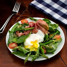 Asparagus and Spinach Salad — prosciutto and poached egg add savor to springtime favorites.