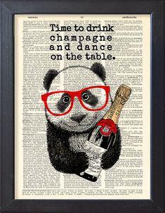Panda Kunst Zeit zu trinken Champagner Wörterbuch Buch Seite