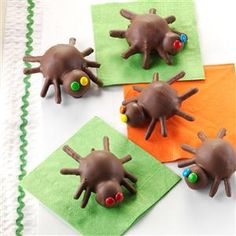 Edible Arachnids Recipe- Recipes  I bring cake pops to my church group when we have movie nights. This year for Halloween, I used my go-to recipe to make these not-so-scary spiders. —Nicole Rae Paoli, Newark, Delaware