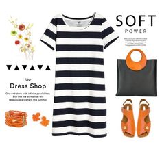 """The Dress Shop"" by musicfriend1 ❤ liked on Polyvore featuring Michael Kors, STELLA McCARTNEY, J.Crew, Curvy Chic, stripes, lovethis, tshirtdress and OrangeAccents"