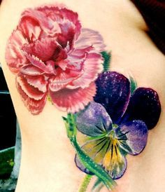 red carnation and violet tattoo. Keith's birth flower carnation and mine is violets