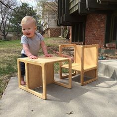 Weekend project reveal! Also Charlotte is 11 months old today! She makes a wonderful cube chair model don't you think? Thanks for the inspiration How We Montessori and Montessori Child :)