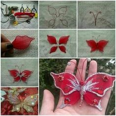 DIY Beautiful Nylon Butterfly Spring is in full bloom and Summer is coming! Let's make some butterfly crafts to fly around our house and garden. Here is a nice tutorial on how to make a beautiful butterfly with nylon and wire. It's great for decoration in Handmade Flowers, Diy Flowers, Fabric Flowers, Paper Flowers, Butterfly Crafts, Butterfly Art, Flower Crafts, Butterfly Jewelry, Summer Crafts