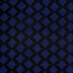 "Black Royal Blue Moroccan Lattice Cotton Spandex Blend Knit Fabric - On trend moroccan lattice design in black and royal blue on a soft cotton spandex rayon blend jersey knit.  Fabric is lighter weight, 4 way stretch, and soft and drapey.  Lattice square measures 1 1/2"" (see image for scale).  A versatile fabric great for many uses!  ::  $6.25"