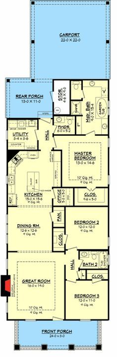 Stylish plan for a narrow lot hwbdo69203 bungalow for Narrow bungalow house plans