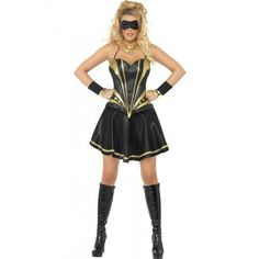 Womens Superhero Costume Fever Black Knight Fancy Dress Outfit
