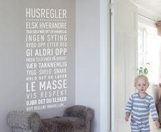 Tekst til vegg i gangen