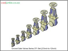 Valves: Gate Valve –Grooved Series 371 Set to Autocad, All Block, Gate Valve, Cad Blocks, Data Sheets, Product Description, Names, The Unit, 3d