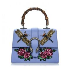 GUCCI Calfskin Embroidered Medium Dionysus Top Handle Bag Light Blue ❤ liked on Polyvore featuring bags, handbags, light blue handbags, blue purse, rose purse, gucci and bamboo purse
