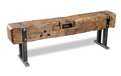 Hand Hewn Large Natural Beam Bench Hand Hewn Beam Benches custom designed with a 150 year old beam from an Amish barn. Great for a mud room, porch, end of bed, hallway. Sized to your personal specifications. Types Of Furniture, Metal Furniture, Industrial Furniture, Rustic Furniture, Diy Furniture, Hand Hewn Beams, Barn Wood Projects, Into The Woods, Woodworking Projects