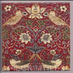 WILLIAM MORRIS STRAWBERRY THIEF DESIGN 4 INCH CERAMIC TILE COASTER SPLASHBACK in Antiques | eBay