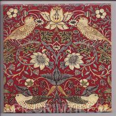 William Morris Strawberry Thief  Ceramic Tile  Firplaces Kitchen Bathroom Red