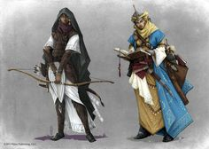 Pathfinder - Ranger and Cleric by TimKings-Lynne armor clothes clothing fashion player character npc | Create your own roleplaying game material w/ RPG Bard: www.rpgbard.com | Writing inspiration for Dungeons and Dragons DND D&D Pathfinder PFRPG Warhammer 40k Star Wars Shadowrun Call of Cthulhu Lord of the Rings LoTR + d20 fantasy science fiction scifi horror design | Not Trusty Sword art: click artwork for source