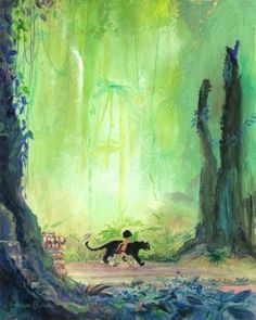 """Mowgli and Bagheera"" by Harrison Ellenshaw - Limited Edition of 95 on Canvas, 20x16.  #Disney #JungleBook #Disney Fine Art #HarrisonEllenshaw"